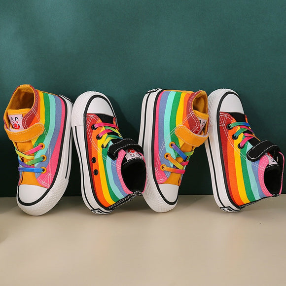 Kids Shoes for Girl Autumn 2020 New Children's High top Canvas Shoes Casual Wild Boys Sneakers Girls Rainbow Shoes|Sneakers