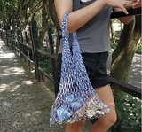 Korean version of ins hollow cotton woven fishing net bag beach cotton net bag portable portable green shopping bag - goldylify.com