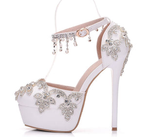 Large size white rhinestone wedding shoes single shoes women Beaded tassel chain high heel sandals waterproof platform word belt - goldylify.com