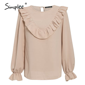 Simplee Elegant ruffled o-neck women blouse shirt autumn Puff sleeve solid female top blouse Casual streetwear ladies top shirt - goldylify.com