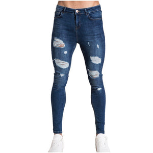 Mens Solid Color Jeans 2019 New Fashion Slim Pencil Pants Sexy Casual Hole Ripped Design Streetwear Cool Designer,White blue#G2 - goldylify.com