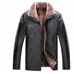 Luxury Winter Warm Mens Wool Lining Short Coat Sheepskin Genuine Leather Shearling Jacket Business Fur Collar Blazer Plus Size - goldylify.com