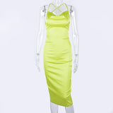 Hugcitar satin slip high waist neon backless sexy bodycon midi dress 2019 summer women fashion party elegant sleeveless clothes - goldylify.com