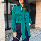 BerryGo Office ladies tie-neck women blouse shirt Summer spring long sleeve blouses Elegant bow work wear female top pink blusas - goldylify.com