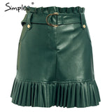 Simplee Sash belt PU leather women skirt Ruffled high waist female mini skirt A-line Party club wear ladies sexy short skirt - goldylify.com