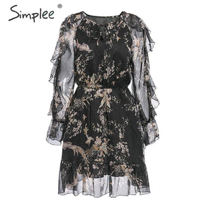 Simplee Elegant floral print mini dress women V neck lace up long sleeve ruffled holiday dress High waist spring summer dresses - goldylify.com
