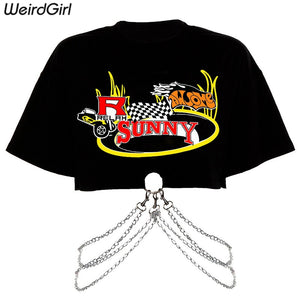 Weirdgirl women print fashion t-shirt Metal chain cotton o-neck half sleeve loose elastic stretched streetwear cool summer new - goldylify.com