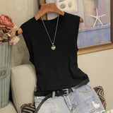 Knitted Vests Women Top O-neck Solid Tank Fashion Female Sleeveless Casual Thin Tops 2019 Summer Knit Woman Shirt Gilet Femme - goldylify.com