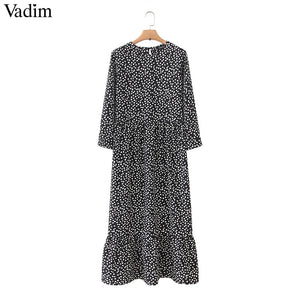 Vadim women dots print maxi dress pleated three quarter sleeve female casual straight dresses chic ankle length vestidos QB260 - goldylify.com