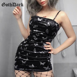 Goth Dark Harajuku Black Dress Women Gothic Spaghetti Strap Backless Off Shoulder Dresses Female Fashion Casual Print Sexy Dress - goldylify.com
