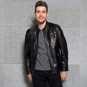 Luxury Fashion Mens Slim Stand Collar Genuine Leather Jacket Outwear Brand Spring Zip Motorcycle Sheepskin Short Coat Plus Size - goldylify.com