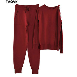 TAOVK sparkle diamonds open shoulder sweater Suits Top+Knitted pants two piece set female winter Costumes track suit for women - goldylify.com