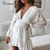 DICLOUD Sexy Plunge V Neck Women's Spring Summer Dress White Lace Long Sleeve Mini Party Dress Ruffle Elegant Clothing 2020 - goldylify.com