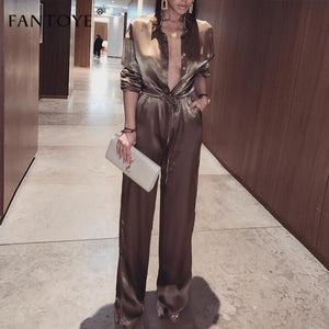 Fantoye Elegant Loose Satin Bodycon Bandage Jumpsuit Women 2019 Spring Sexy Solid Lapel Deep V Neck Playsuits Ladies Streetwear - goldylify.com