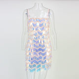 Thereadict Sexy Women Dress Off Shoulder Tassel Short Long Sleeve Sequin Dress Backless Vintage Autumn Club Party Dresses 2019 - goldylify.com