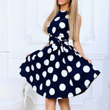 slim waist sleeveless elegant boho big polka dot A-line mini belt dress sale - goldylify.com