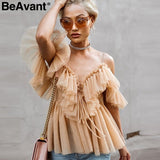 BeAvant Off shoulder womens tops and blouses summer 2019 Backless sexy peplum top female Vintage ruffle mesh blouse shirt blusas - goldylify.com