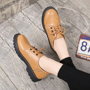 British style small leather shoes lady 2020 spring and autumn new retro round head student college Korean version flat shoes - goldylify.com
