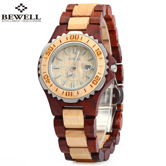 BEWELL ZS-100BL Metal Case Wooden Women Quartz Watch with 30M Water Resistance - goldylify.com