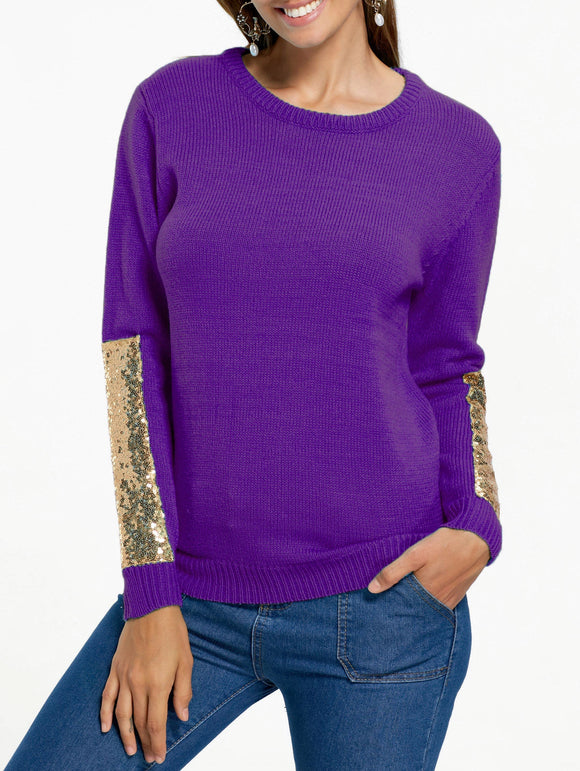 Sequin Panel Pullover Knit Sweater