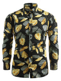 Allover Golden Leaves Print Casual Shirt