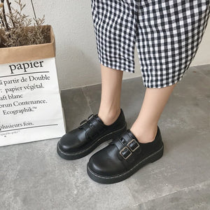 Chic small shoes thick bottom college retro female students soft sister shoes with British style big shoes - goldylify.com