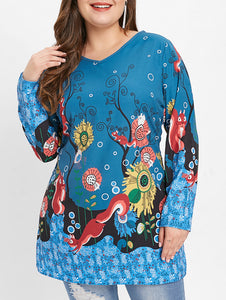 Plus Size Squirrel Print Long Sleeve T-shirt