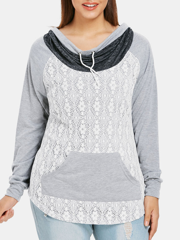 Plus Size Lace Panel Kangaroo Pocket T-shirt