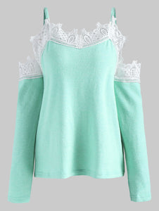 Cold Shoulder Lace Panel Sweater