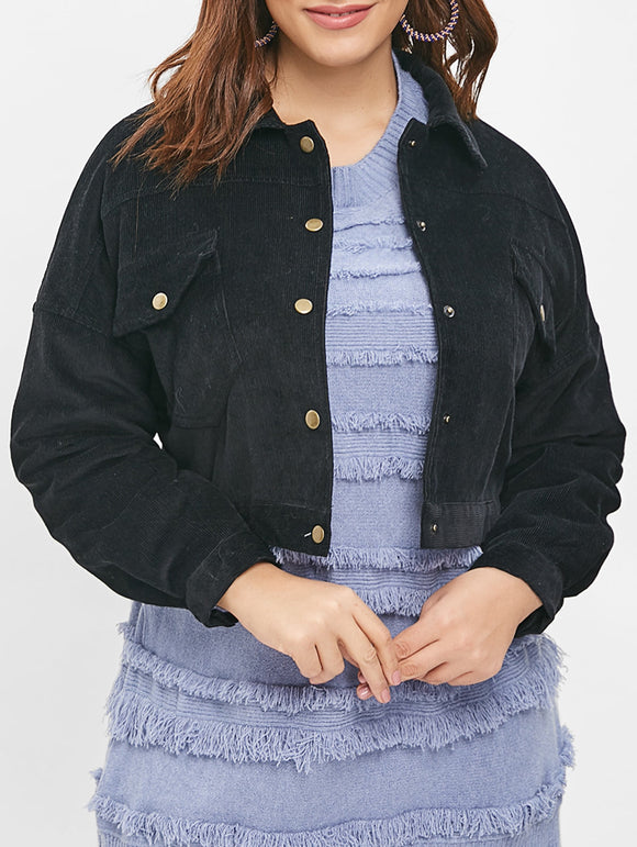 Front Pockets Plus Size Button Up Jacket