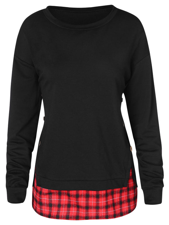 Faux Twinset Plaid Panel Hoodie