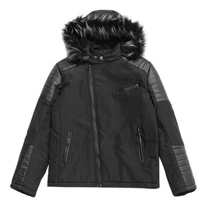 Zipper Faux Fur Hoodie Patchwork Parka Coat