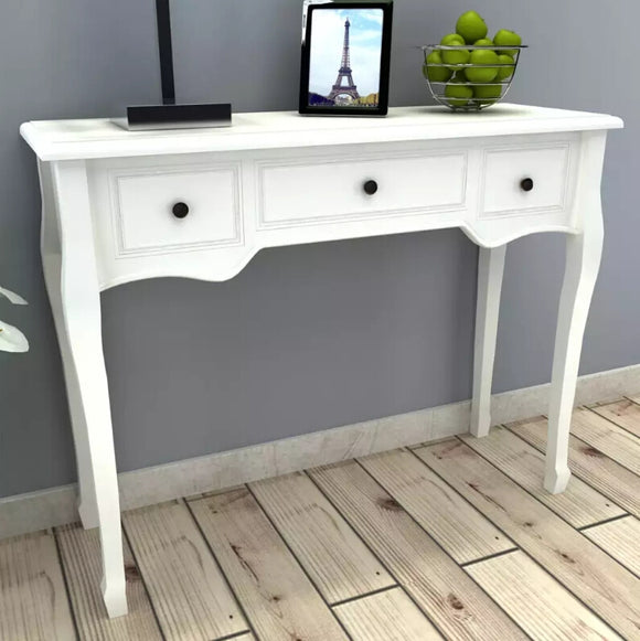 vidaXL Dressing Table Console Table with Three Drawers White 241143 - goldylify.com