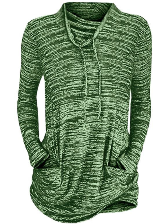 Womens Cowl Neck Long Sleeve Pocket Casual Tunic Sweatshirts T-shirt - goldylify.com