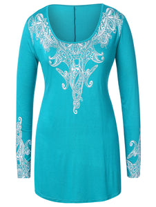 Plus Size Ethnic Print Long Sleeve T-shirt