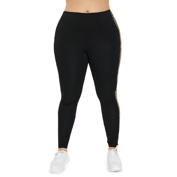 Plus Size Leggings Casual Comfortable Sequins Patchwork Close-fitting Women Pants - goldylify.com