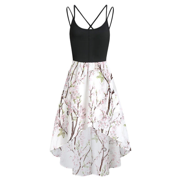 High Low Floral Cross Back Cami Dress - goldylify.com