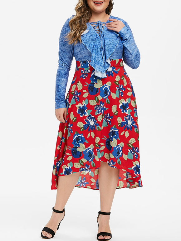 Plus Size Lace Up Ruffled High Low Floral Midi Dress