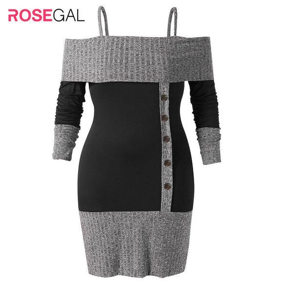 ROSEGAL Plus Size Open Shoulder Two Tone Knitwear