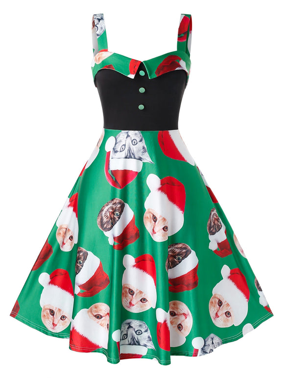 Plus Size Christmas Cat Printed Slip Dress