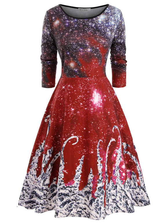 Galaxy Printed Christmas Long Sleeve Plus Size Dress