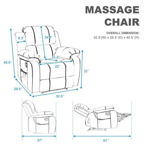 Barwick PU Heated Massage Recliner Sofa Ergonomic Lounge with 8 Vibration Motor - goldylify.com