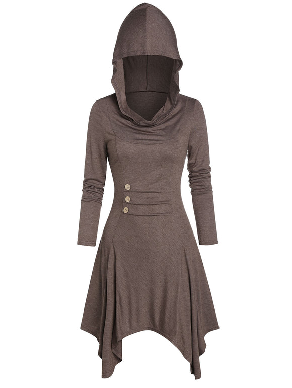 Hooded Button Ruched Handkerchief Casual Dress