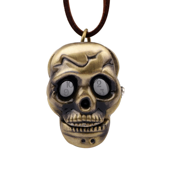 Vintage Neutral Bronze Alloy Skull Pocket Watch - goldylify.com