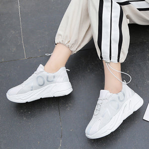 Female 2020 new Korean version lace up running sneakers student casual sports thick sole shoes