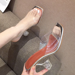 Crystal and transparent female sandals and slippers - goldylify.com