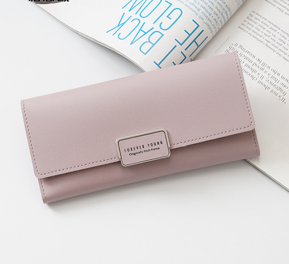 Women's wallet Korean version of the three fold long buckle clasp bag multi-card position pu leather wallet factory direct one generation - goldylify.com