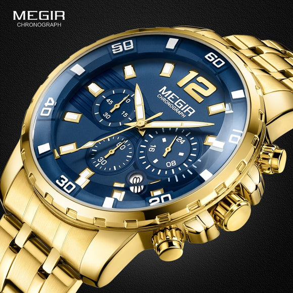 Megir männer Gold Edelstahl Quarz Uhren Business Chronograph Analgue Armbanduhr für Mann Wasserdicht Leucht 2068GGD 2N3|wristwatch for men|wristwatch mens goldwristwatch gold