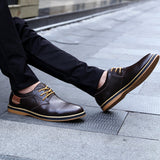 Men's casual leather shoes top layer daily shoes trend men's shoes British tie dress shoes - goldylify.com