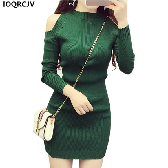 Women Knit Pullover Sweater 2020 New Long Sleeve Strapless Sexy Women Short Knit Dress Slim